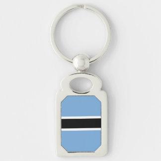Botswana Flag Silver-Colored Rectangle Keychain