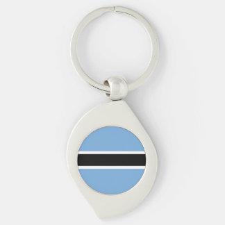 Botswana Flag Silver-Colored Swirl Keychain