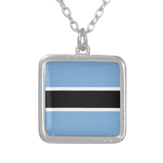 Botswana flag silver plated necklace