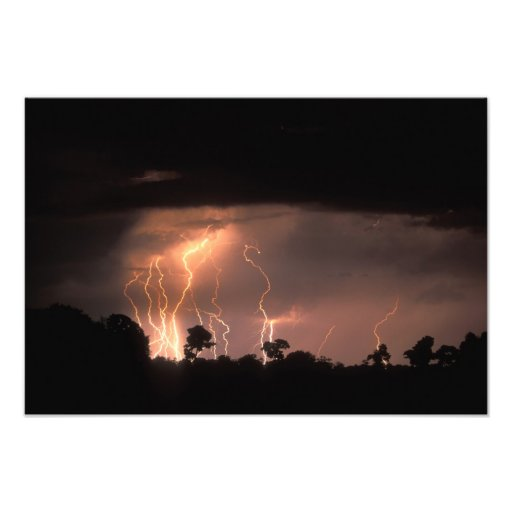 Botswana, Moremi Game Reserve, Lightning fills Photo