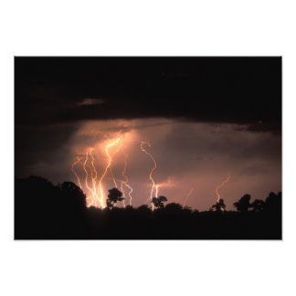 Botswana, Moremi Game Reserve, Lightning fills Photographic Print