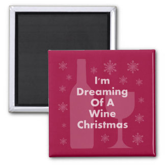Bottle And Glass: Wine Christmas Magnet