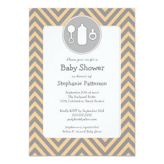 Bottle Binky Rattle Baby Shower Sherbet & Gray Card