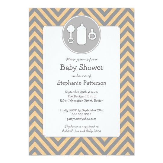 Bottle Binky Rattle Baby Shower Sherbet & Grey Card
