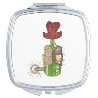 Bottle Cowboy Compact Mirror