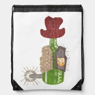 Bottle Cowboy Drawstring Bag