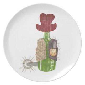 Bottle Cowboy Melamine Plate