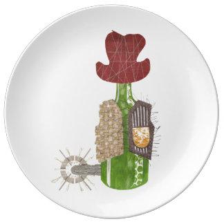 Bottle Cowboy Porcelain Plate