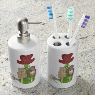 Bottle Cowboy Toothbrush Holder and Soap Dispenser