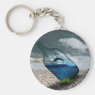 Bottle Dolphin in Dessert Basic Round Button Keychain