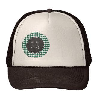 Bottle Green Houndstooth; Retro Chalkboard Trucker Hat