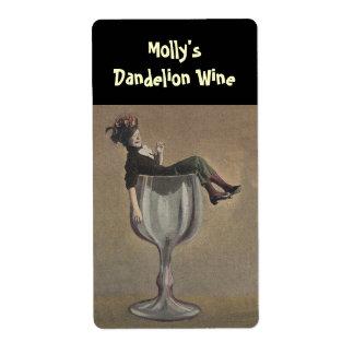 Bottle Labeling Funny Lady Wine Glass Personalized Shipping Label