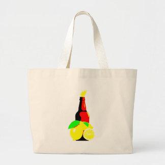 Bottle of Beer and Lemons Large Tote Bag