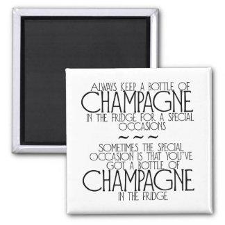 Bottle Of Champagne In The Fridge Magnet