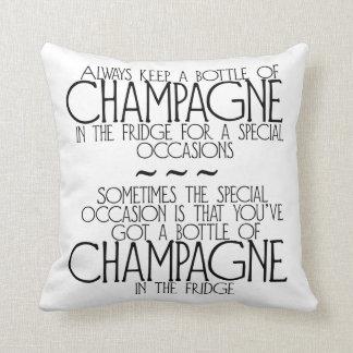 Bottle Of Champagne In The Fridge Phrase Pillow