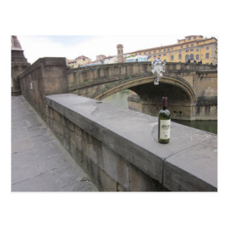 Bottle of Wine by the Ponte Santa Trinita Postcard