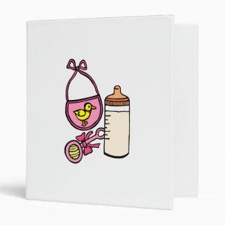bottle rattle bib - pink binders