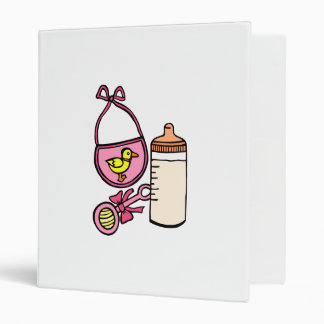 bottle rattle bib - pink vinyl binders