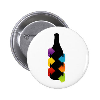 Bottle shaped design element 2 inch round button