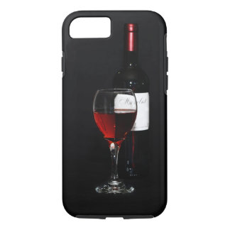 Bottle with red wine, red wine glass iPhone 7 case