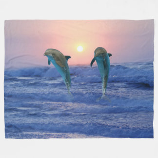 Bottlenose Dolphin at Sunrise Fleece Blanket