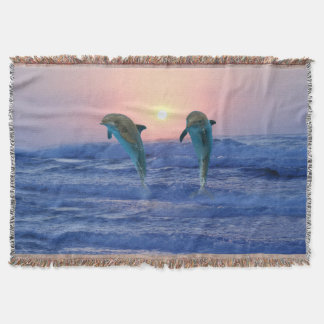 Bottlenose Dolphin at Sunrise Throw Blanket