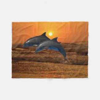 Bottlenose Dolphin at Sunset Fleece Blanket