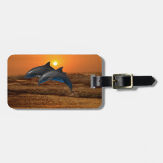 Bottlenose Dolphin at Sunset Luggage Tag
