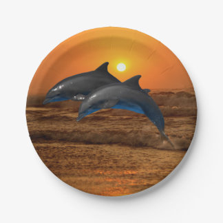 Bottlenose Dolphin at Sunset Paper Plate