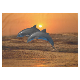 Bottlenose Dolphin at Sunset Tablecloth