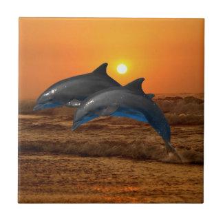 Bottlenose Dolphin at Sunset Tile
