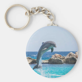 Bottlenose Dolphin Basic Round Button Keychain