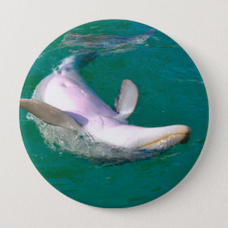 Bottlenose Dolphin Upside Down 4 Inch Round Button