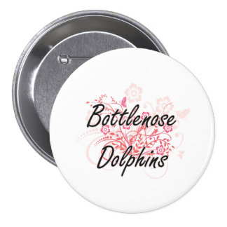 Bottlenose Dolphins with flowers background 3 Inch Round Button