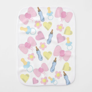 Bottles and bows burp cloth