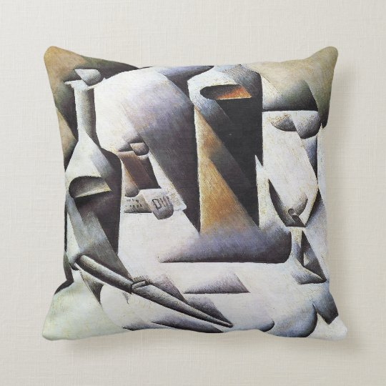 Bottles and Knife, by Juan Gris Throw Pillow