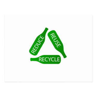 Bottles forming the recycle icon postcard