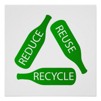 Bottles forming the recycle icon poster