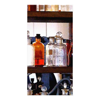 Bottles of Chemicals on Shelves Photo Card Template