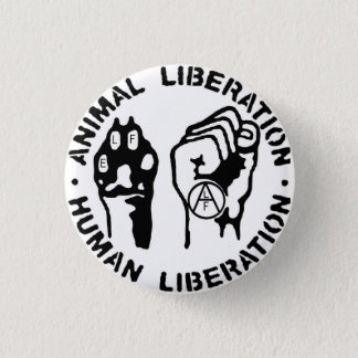 Bottom animal liberation 1 inch round button