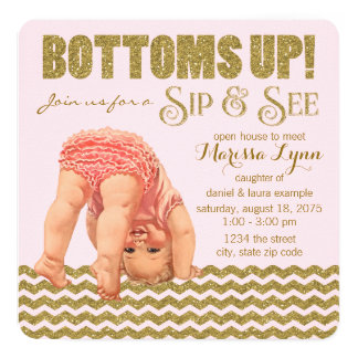 Bottoms Up Girls Sip and See Card