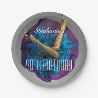 Bottoms UP Purple and Gray 90th Birthday Party 7 Inch Paper Plate