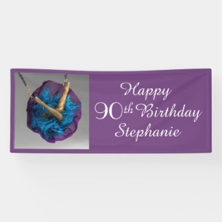 Bottoms UP Purple and Gray 90th Birthday Party Banner