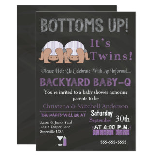 Bottoms Up Twins Baby-Q Baby Shower Invitation