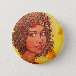 Botton Hippie Girl 2 Inch Round Button