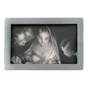 0fd0839ed10 Boucle De Ceinture Rectangulaire Blanc de noir d anges de Vierge Marie de  Jésus de