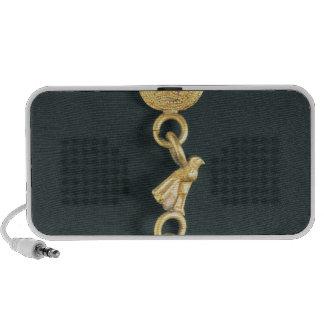 Boucle d'oreille d'or avec le pendentif baisse-for haut-parleur mobile
