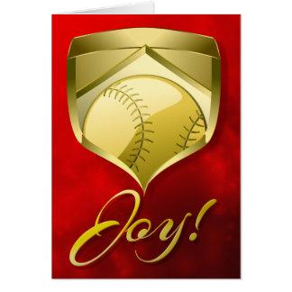 Bouclier d'or de base-ball ou de base-ball avec carte de vœux