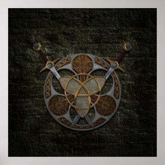 Bouclier et épées celtiques poster