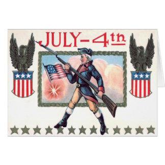 Bouclier révolutionnaire de drapeau américain de carte de vœux